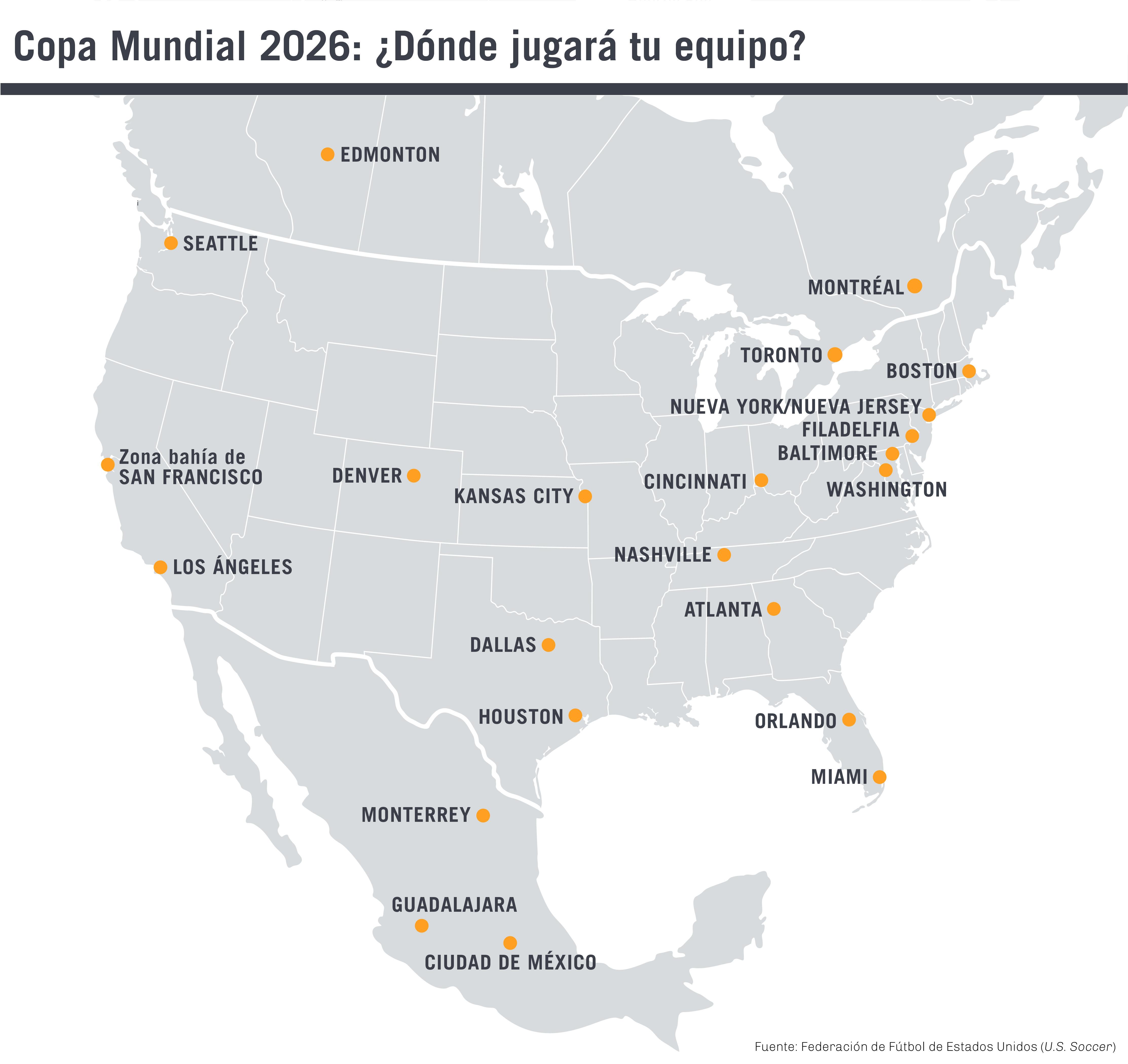 Mapa de América del Norte que muestra ciudades seleccionadas (Depto. de Estado)