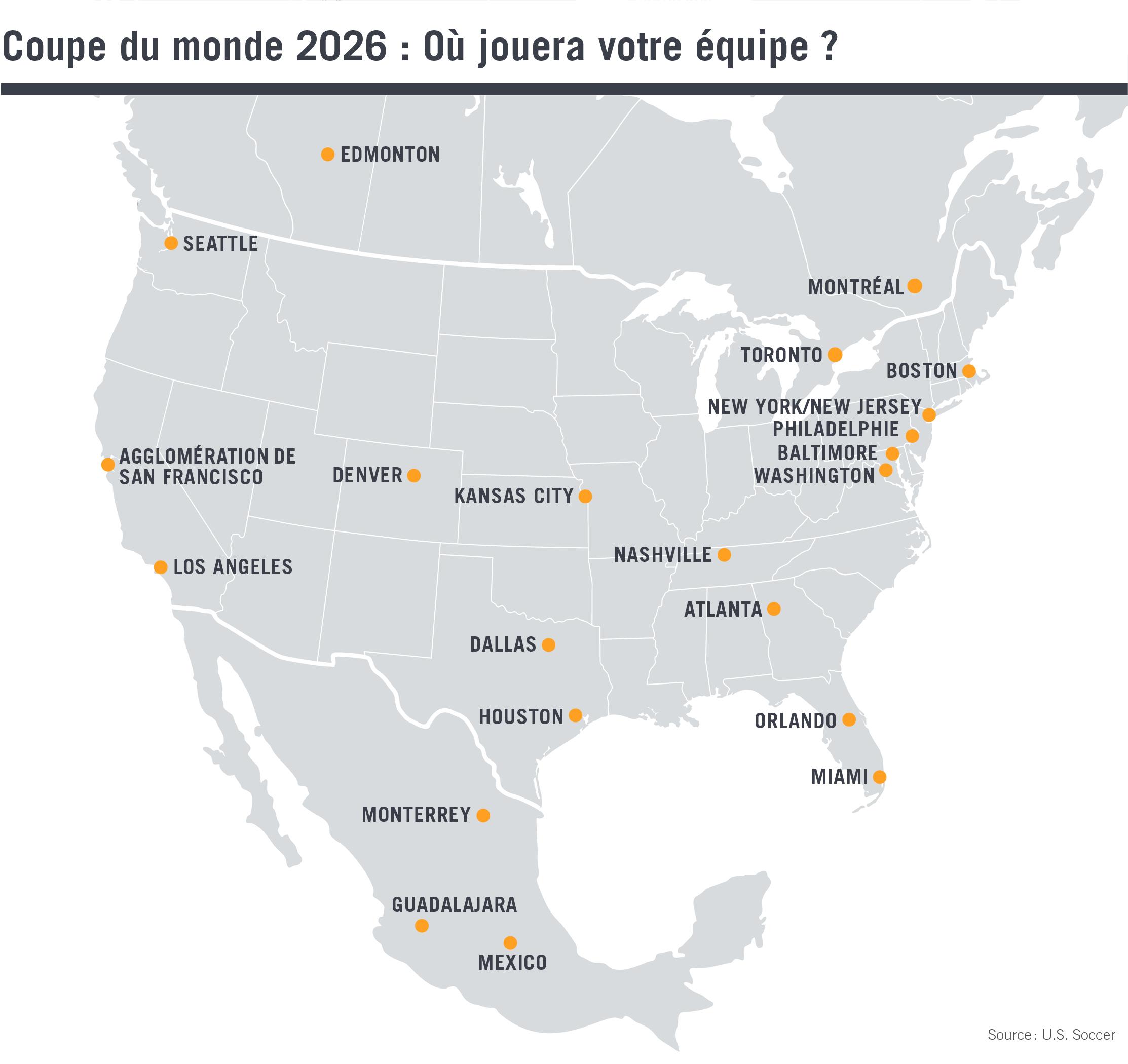 Carte d'Amérique du Nord montrant les sites sélectionnés (Département d'État)