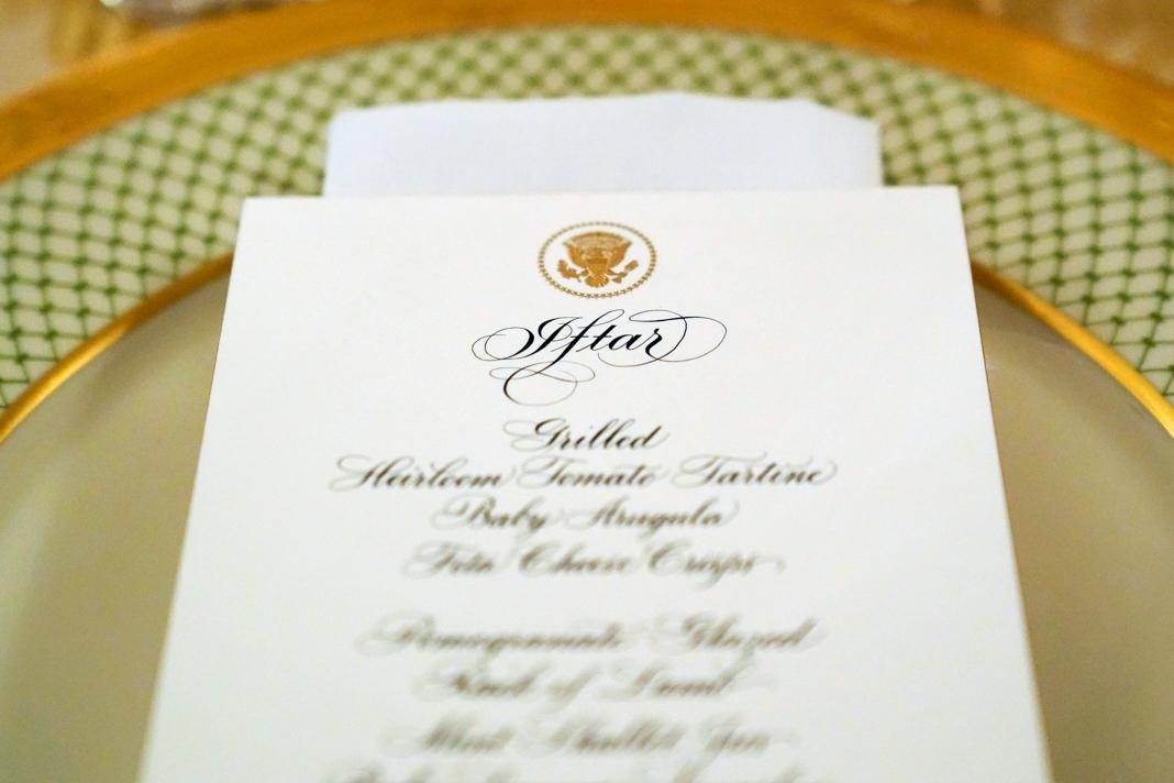 Printed menu on fancy plate (© Joshua Roberts/Reuters)