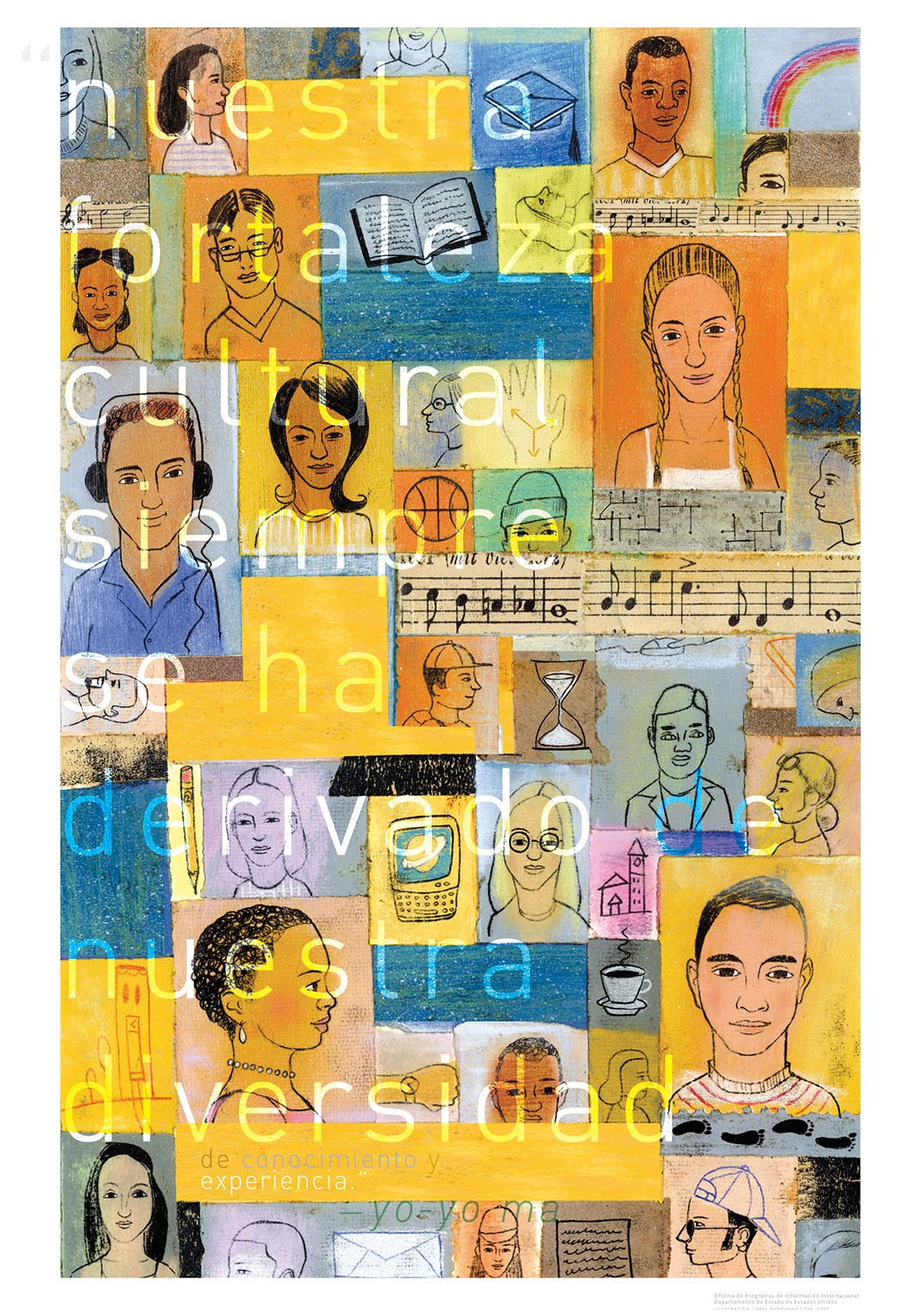 Composición de dibujos de personas y actividades con una cita de Yo-Yo Ma superpuesta (Depto. de Estado)