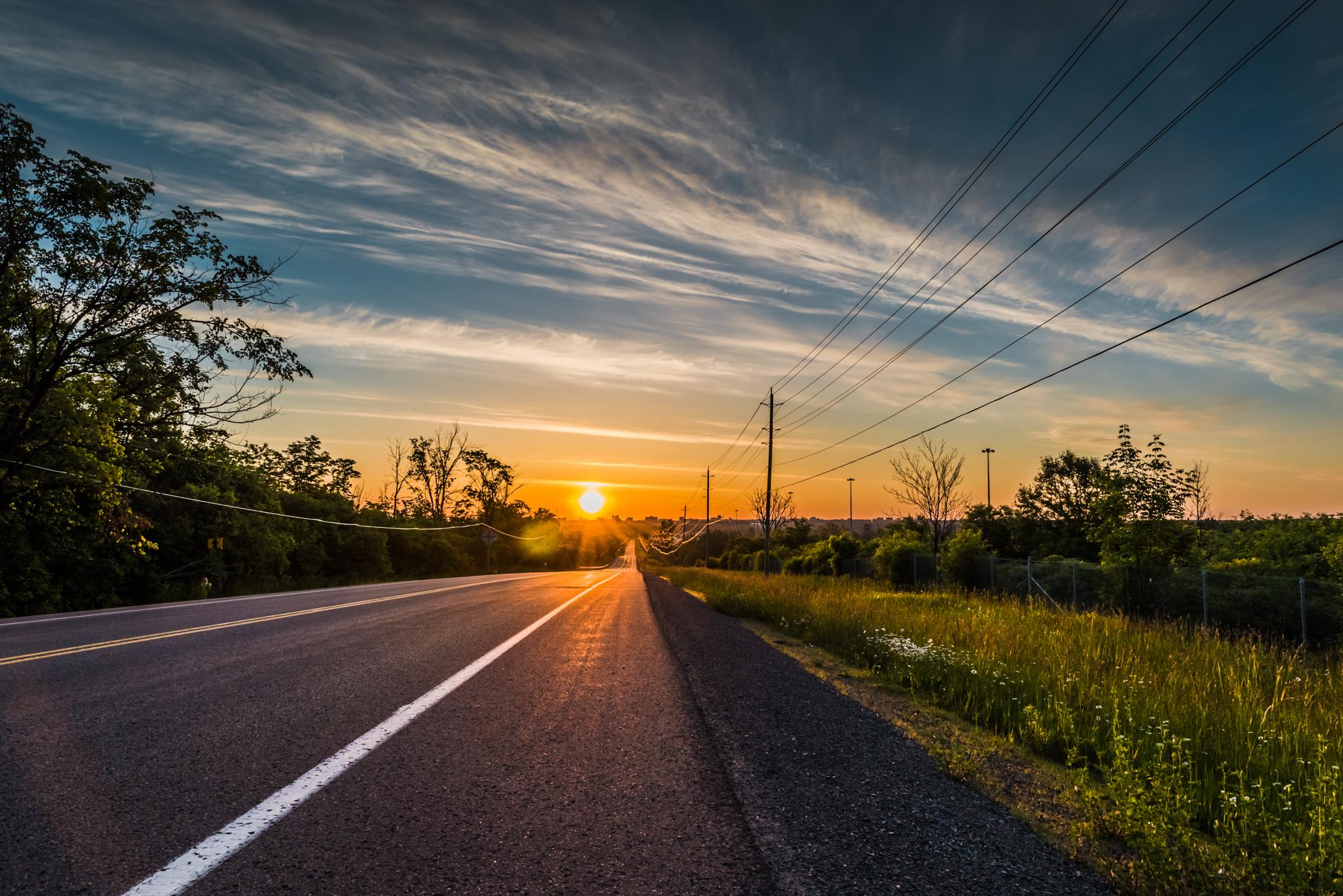 Vue d'un ciel avec un soleil bas à l'horizon, le faîte des arbres et des lignes électriques tendues entre des pylônes (Shutterstock)