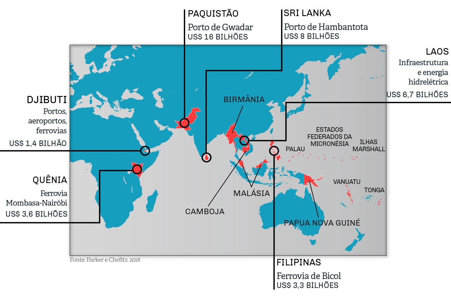 Mapa mostra alguns países selecionados e sua dívida decorrente de projetos específicos (Depto. De Estado/S. Gemeny Wilkinson)