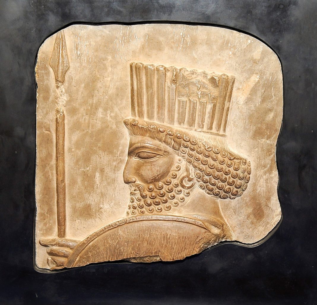 Head of an ancient Persian soldier carved into limestone (Manhattan District Attorney's Office)