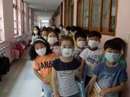 Children wearing health masks lined up in school hallway (© Chung Sung-Jun/Getty Images)