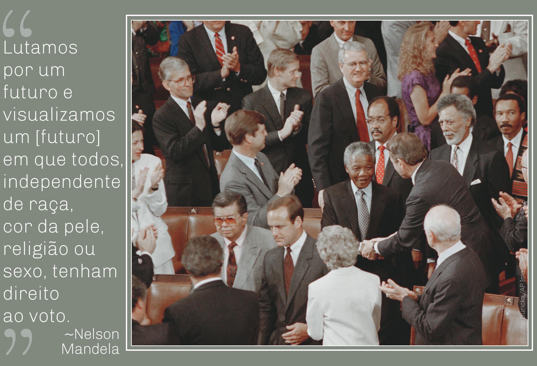 Foto de Mandela na multidão; citação de Mandela sobre o direito de votar (© John Duricka/AP Images)