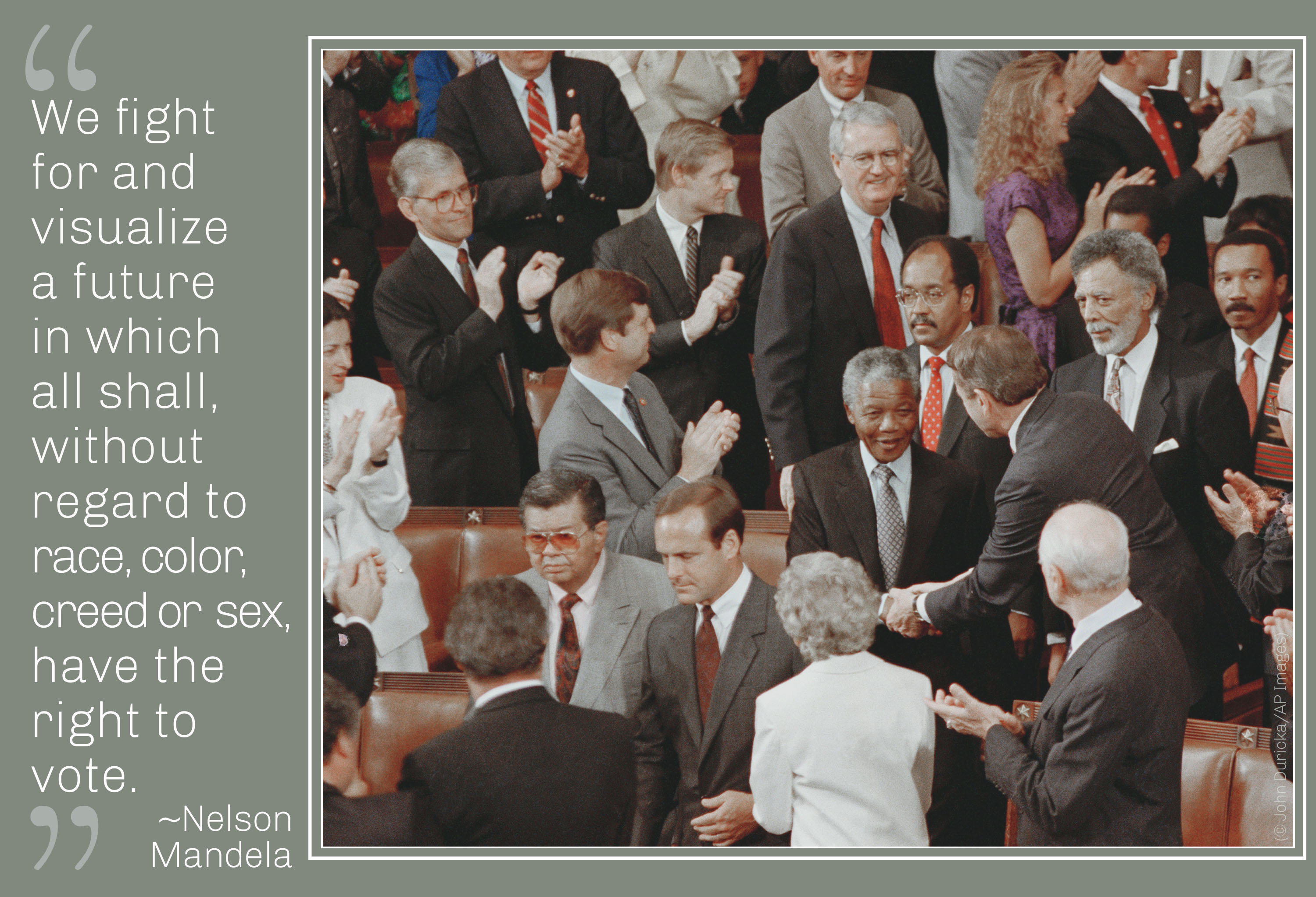 Photo of Mandela in crowd, Mandela quote about the right to vote (© John Duricka/AP Images)