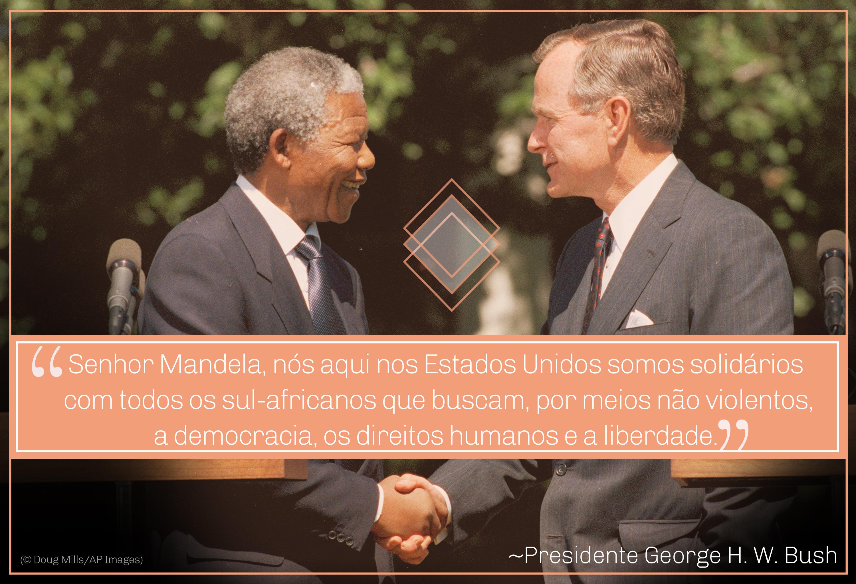 Foto de Mandela e do presidente George H.W. Bush apertando as mãos; citação de Bush sobre caminhada em solidariedade (© Doug Mills/AP Images)