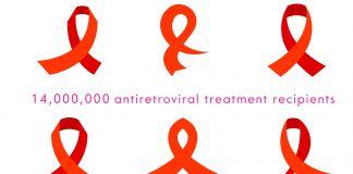 Cartaz com imagens de fitas vermelhas junto com estatísticas sobre HIV/Aids (Depto. de Estado/D. Woolverton)
