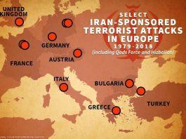 Map of Iran-sponsored terrorist attacks in Europe (ShareAmerica)
