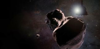 Two rock-like objects floating in space (NASA/JHUAPL/SwRI)