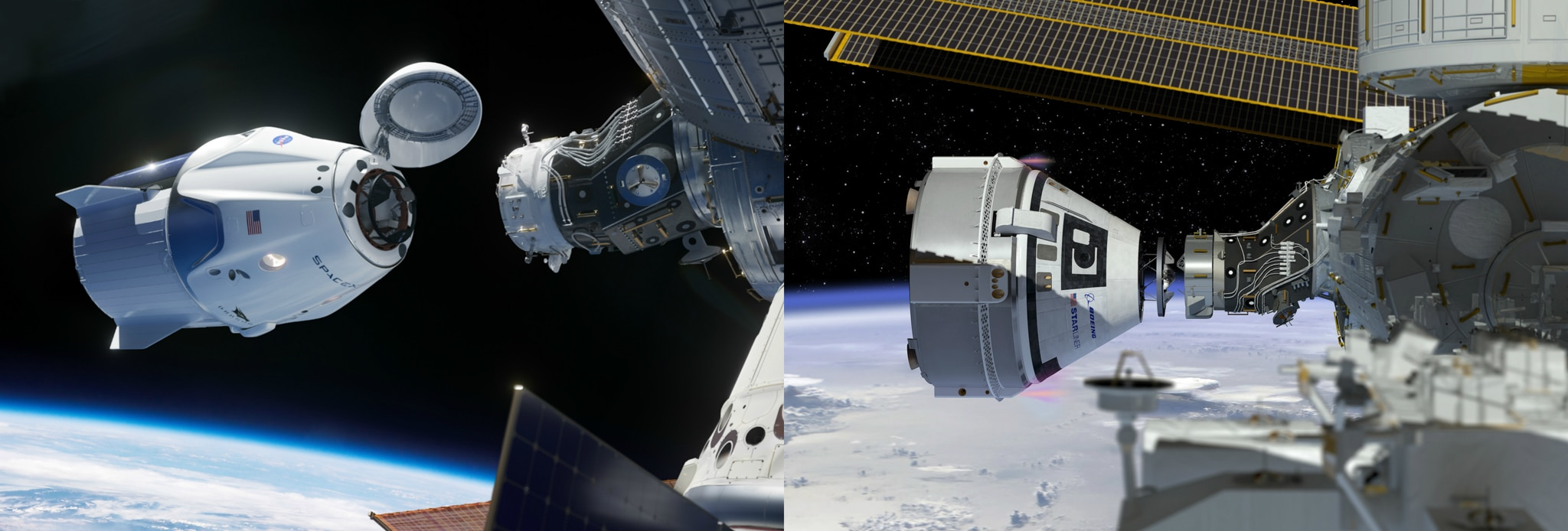 Compilation of two artist's perspectives, each of space capsule approaching space station (NASA)