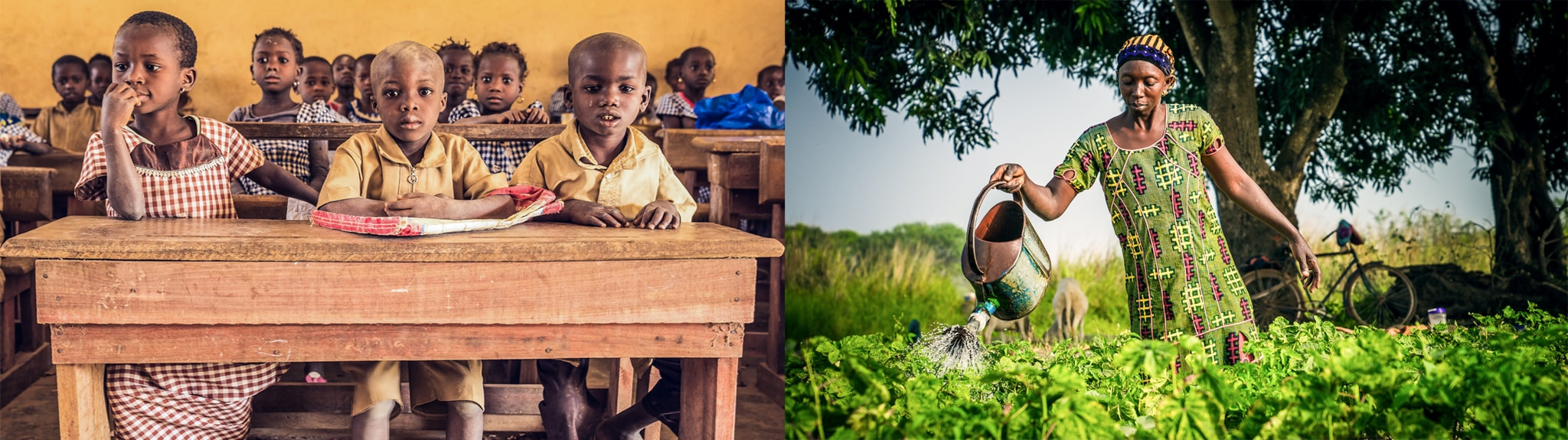 On left, schoolchildren at desks; on right, a woman watering a vegetable garden (USAID/Sandra Coburn)