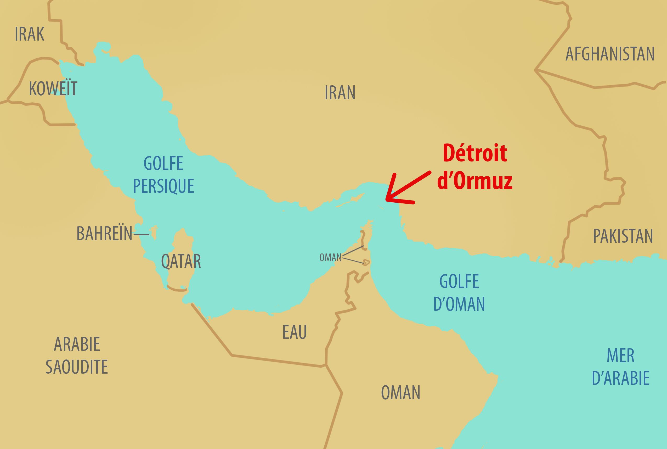 Carte montrant le détroit d'Ormuz et les pays autour (Département d'État/D. Thompson)