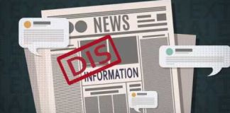 "Drawing of newspaper with ""DIS"" stamped in red in front of word ""information"""