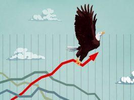Illustration of eagle flying upward while holding economic graph (State Dept./D. Thompson)