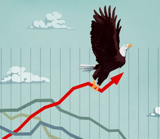Illustration of eagle flying upward while holding economic graph (State Dept./D. Thompson)
