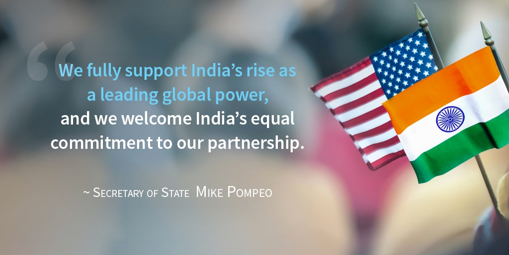 Flags and Pompeo quote about India as leading global power (State Dept.)