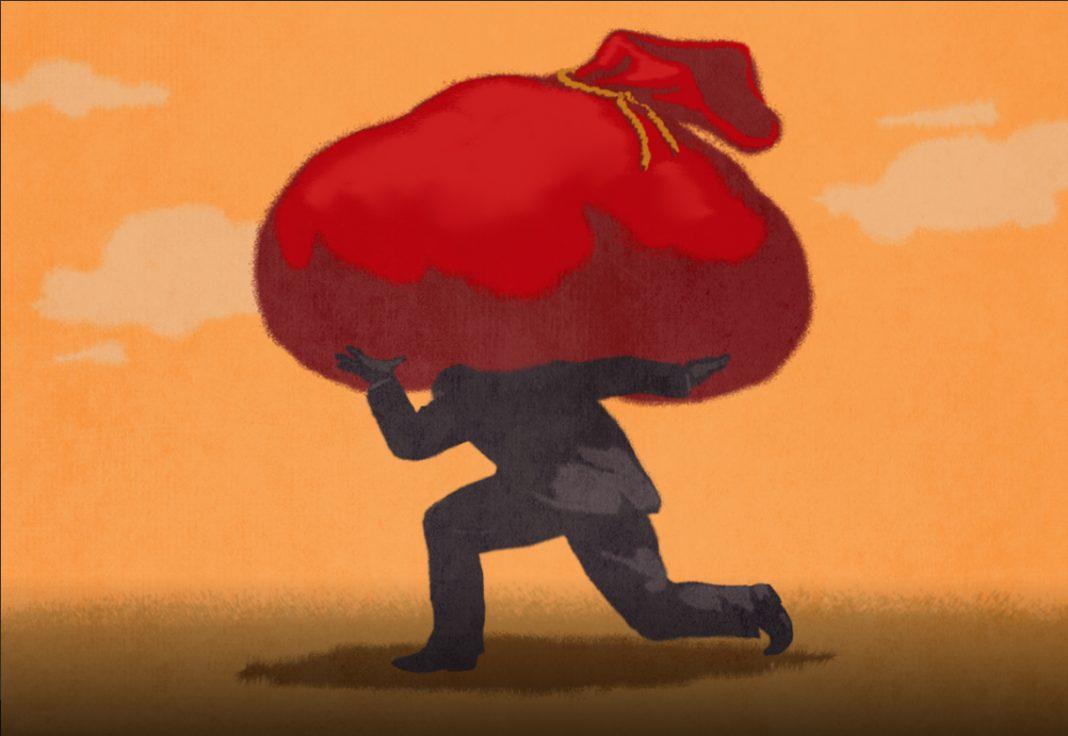 Ilustración de una persona cargando una gran bolsa roja al hombro (Depto. de Estado/D. Thompson)
