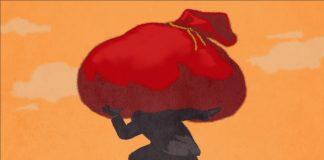 Illustration of person shouldering large red bag (State Dept./D. Thompson)