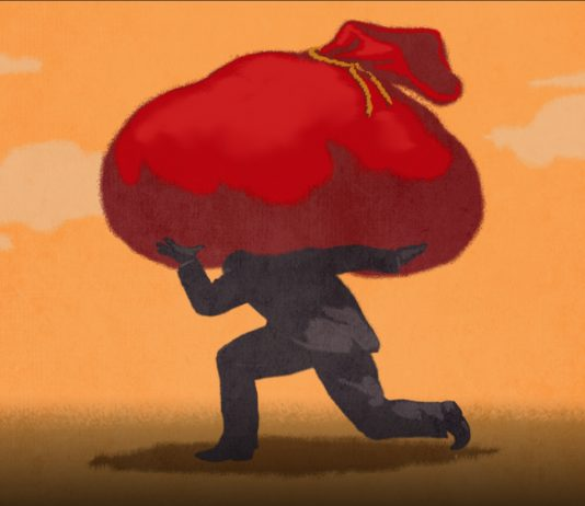 Illustration of a man shouldering a large bag of Chinese debt.