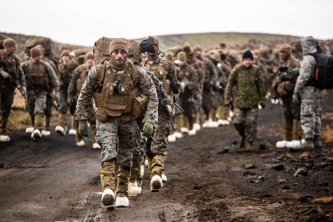 جنود بملابس عسكرية مموّهة وأحذية ذات ألوان فاتحة يسيرون وعلى ظهورهم أحمال كبيرة (Allied Joint Force Command Naples)