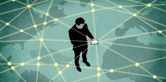 Illustration of man holding device connected to web that spans the globe (State Dept./D. Thompson)