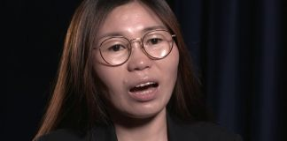 Frame from video of woman speaking (State Dept.)