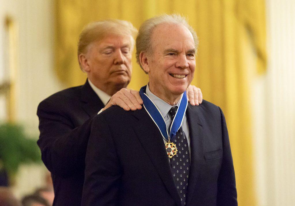 President Trump placing Medal of Freedom on Roger Staubach (Andrea Hanks/White House)