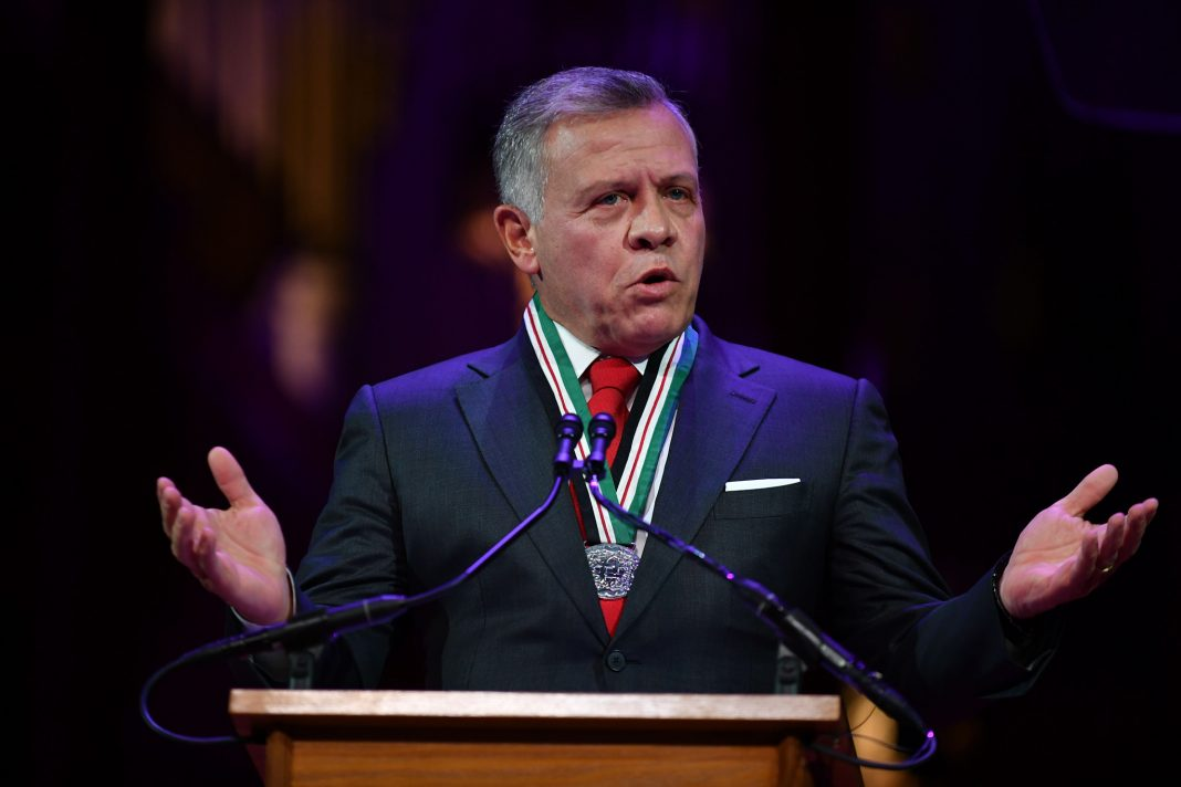 Jordan's King Abdullah speaking at a lecturn (© Mandel Ngan/AFP/Getty Images)