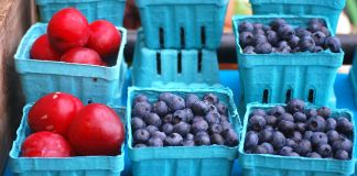 Baskets filled with plums and blueberries (© Lore Patterson/Alamy Stock Photo)