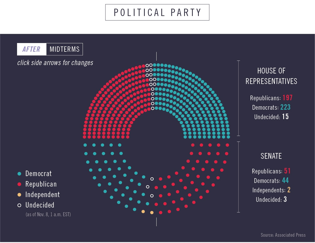 Color-coded diagram seats of seats won by political parties after midterms (State Dept./Julia Maruszewski)