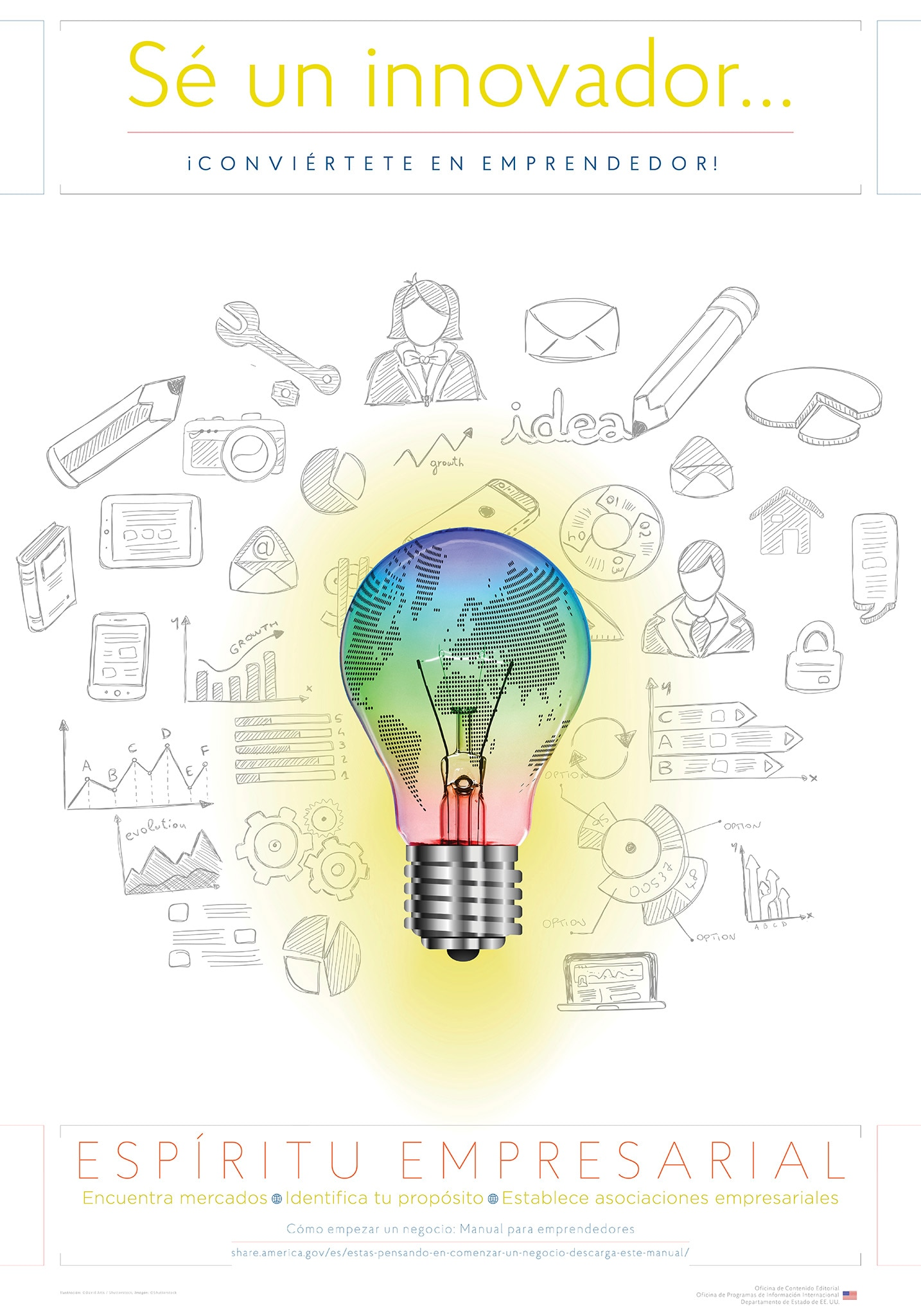 Poster sobre emprendimientos con una bombilla y dibujos (Depto. de Estado/D. Hamill)