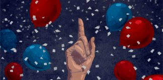 Illustration of hand pointing up while surrounded by balloons and confetti (State Dept./D. Thompson)