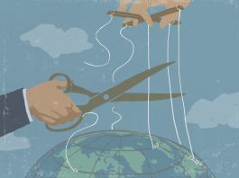 Illustration of someone cutting puppet strings connected to globe (State Dept./D. Thompson)