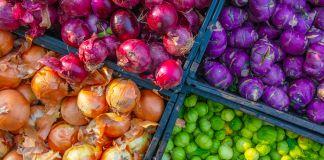 Four trays of colorful vegetables (Preston Keres/USDA)