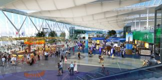 Drawing of inside of airport (© New York Governor's Office/AP Images)