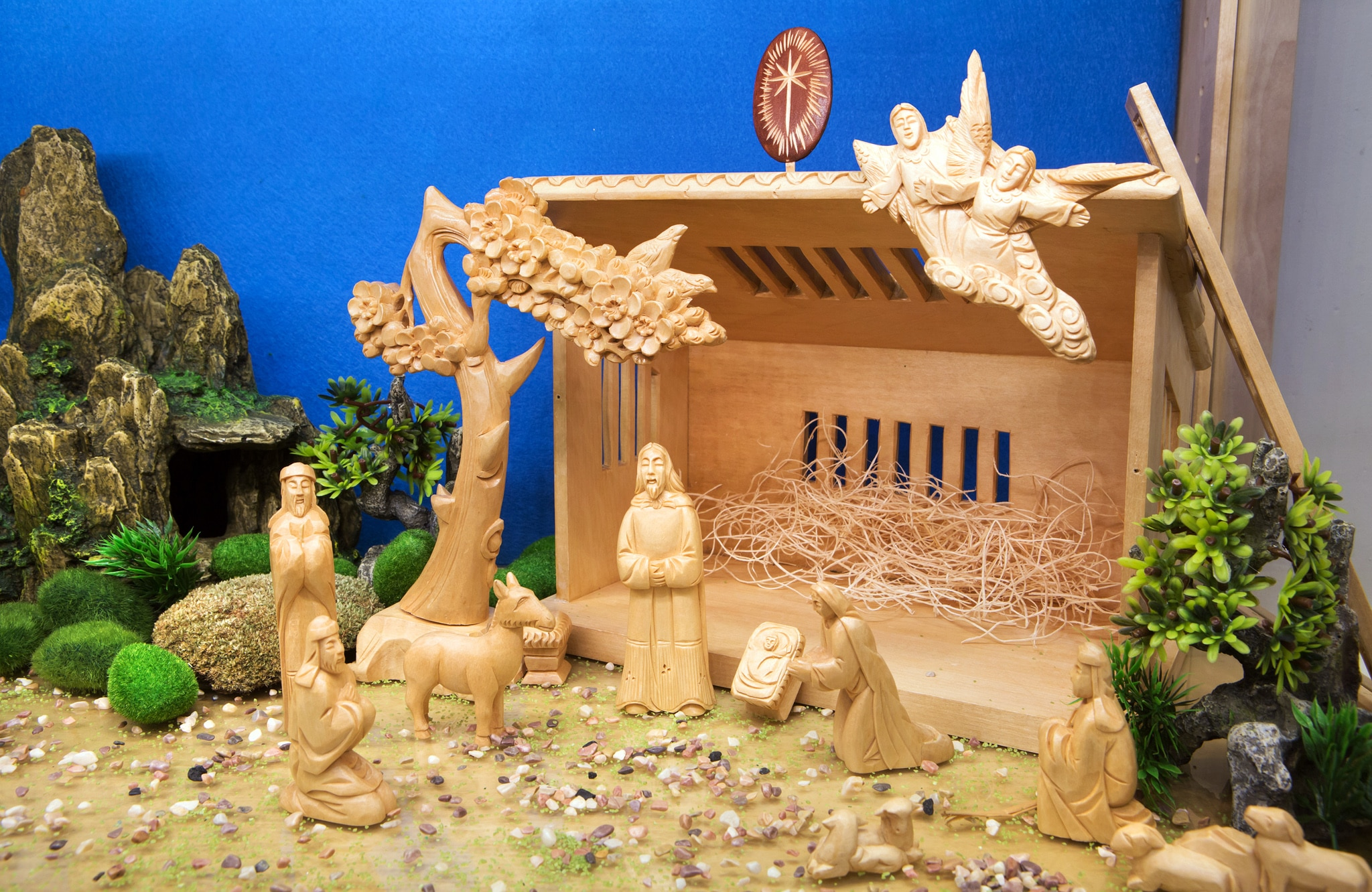 Miniature crèche display with Asian figures (D.A. Peterson/State Dept.)
