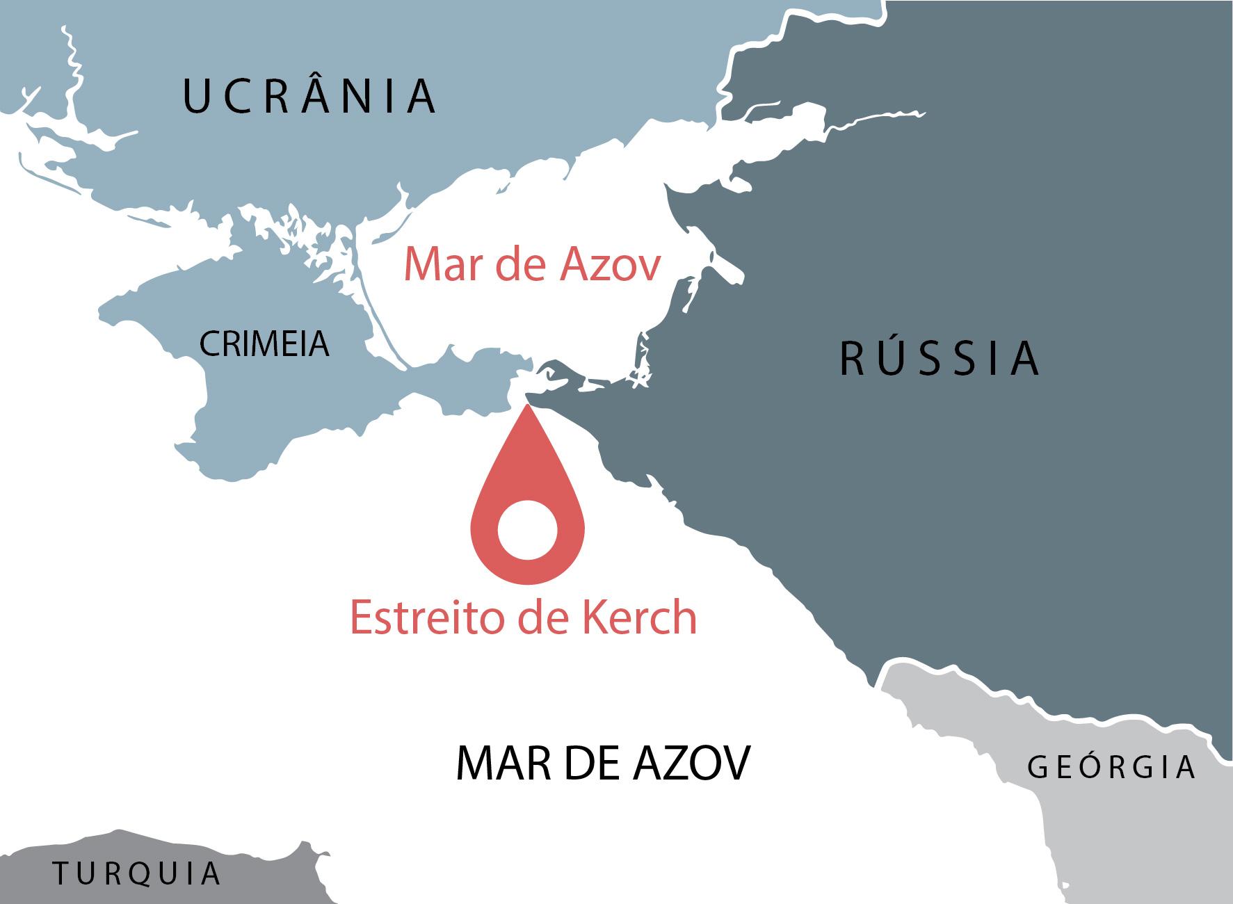 Mapa mostra o Estreito de Kerch, o oceano e os países ao seu redor (Depto. de Estado/L. Rawls)