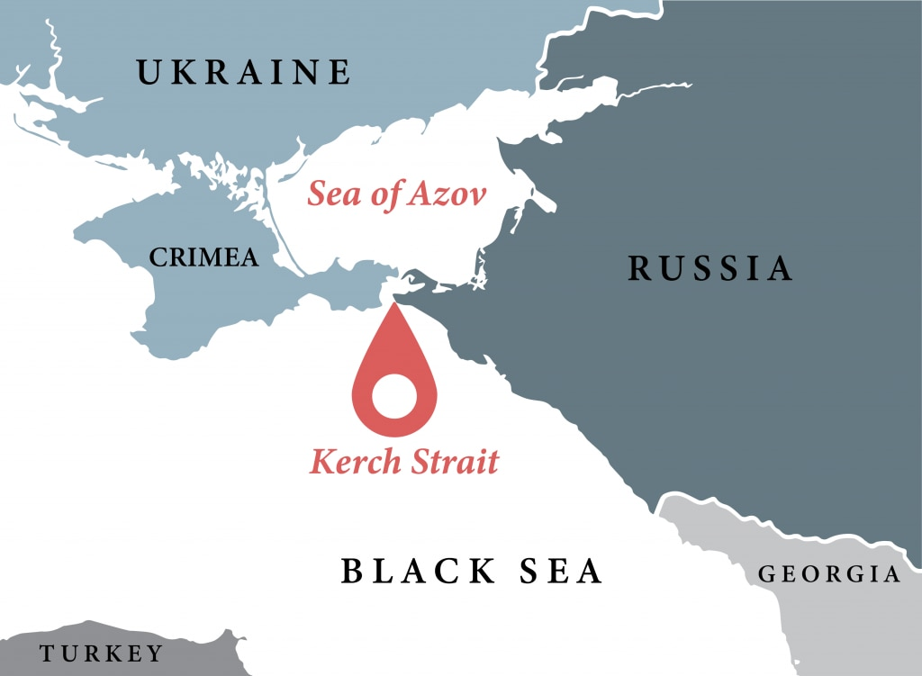 Map showing Kerch Strait and waters and countries around it (State Dept./L. Rawls)