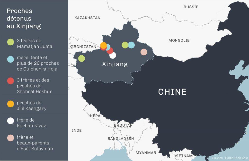 Carte indiquant des lieux où des proches de Ouïgours sont emprisonnés. (Département d'État)