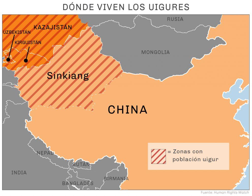 Mapa marcado con regiones con población uigur (Human Rights Watch)