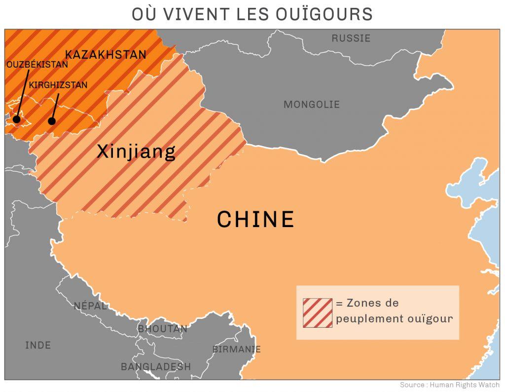 Carte montrant les zones de peuplement ouïgour (Human Rights Watch)