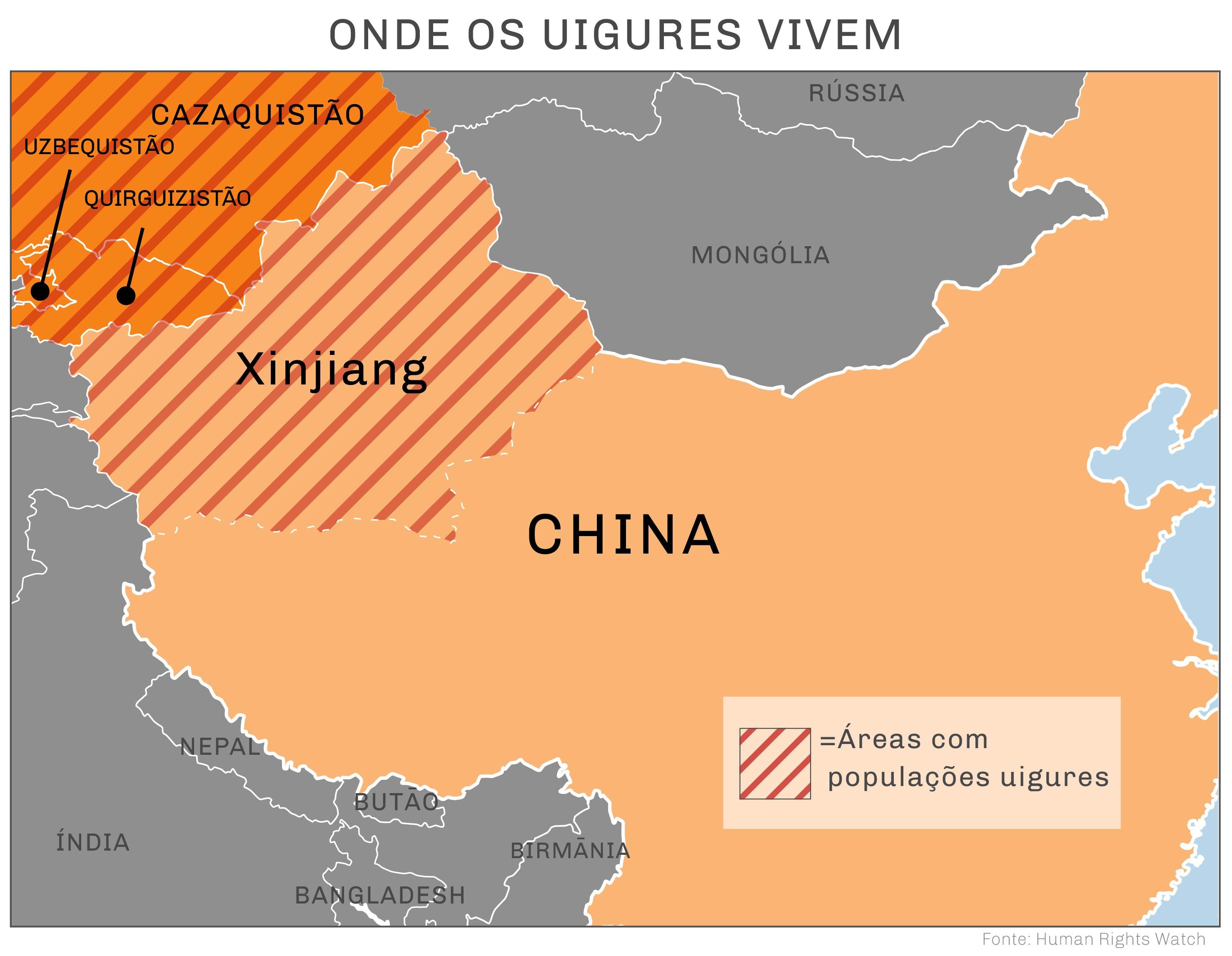 Mapa marcado com áreas de populações uigures (Human Rights Watch)