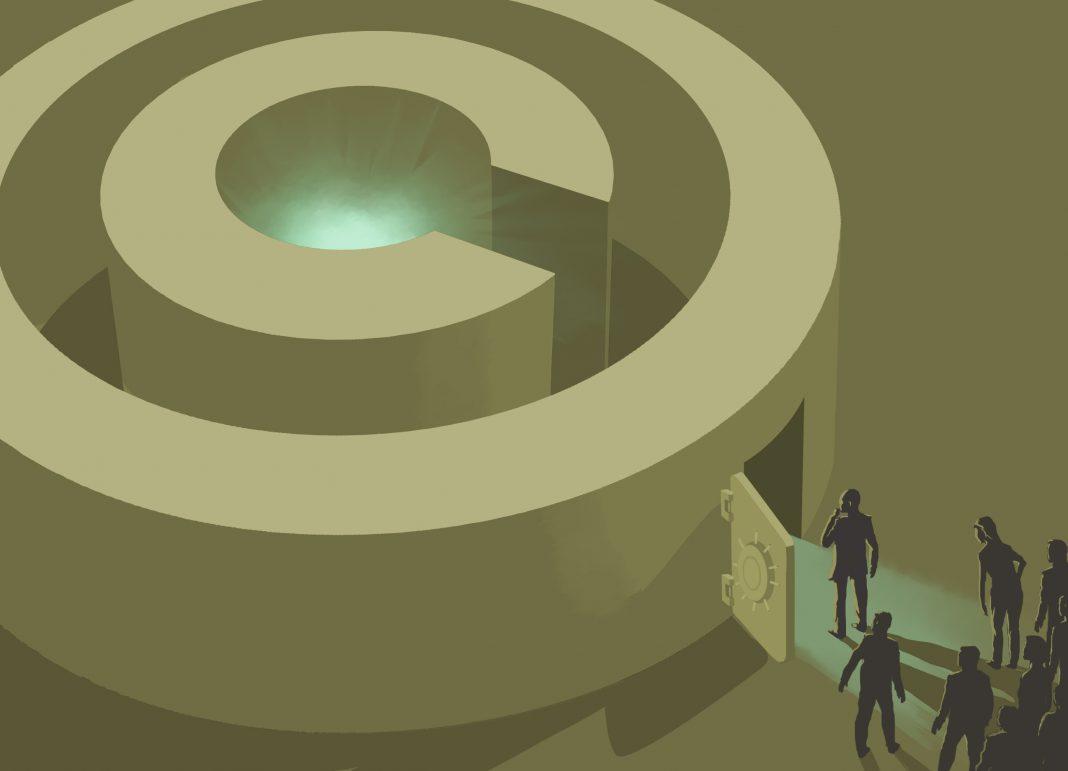 Ilustración que muestra a personas abriendo una puerta al lado de un símbolo grande de derechos de autor (Depto. de Estado/D. Thompson)