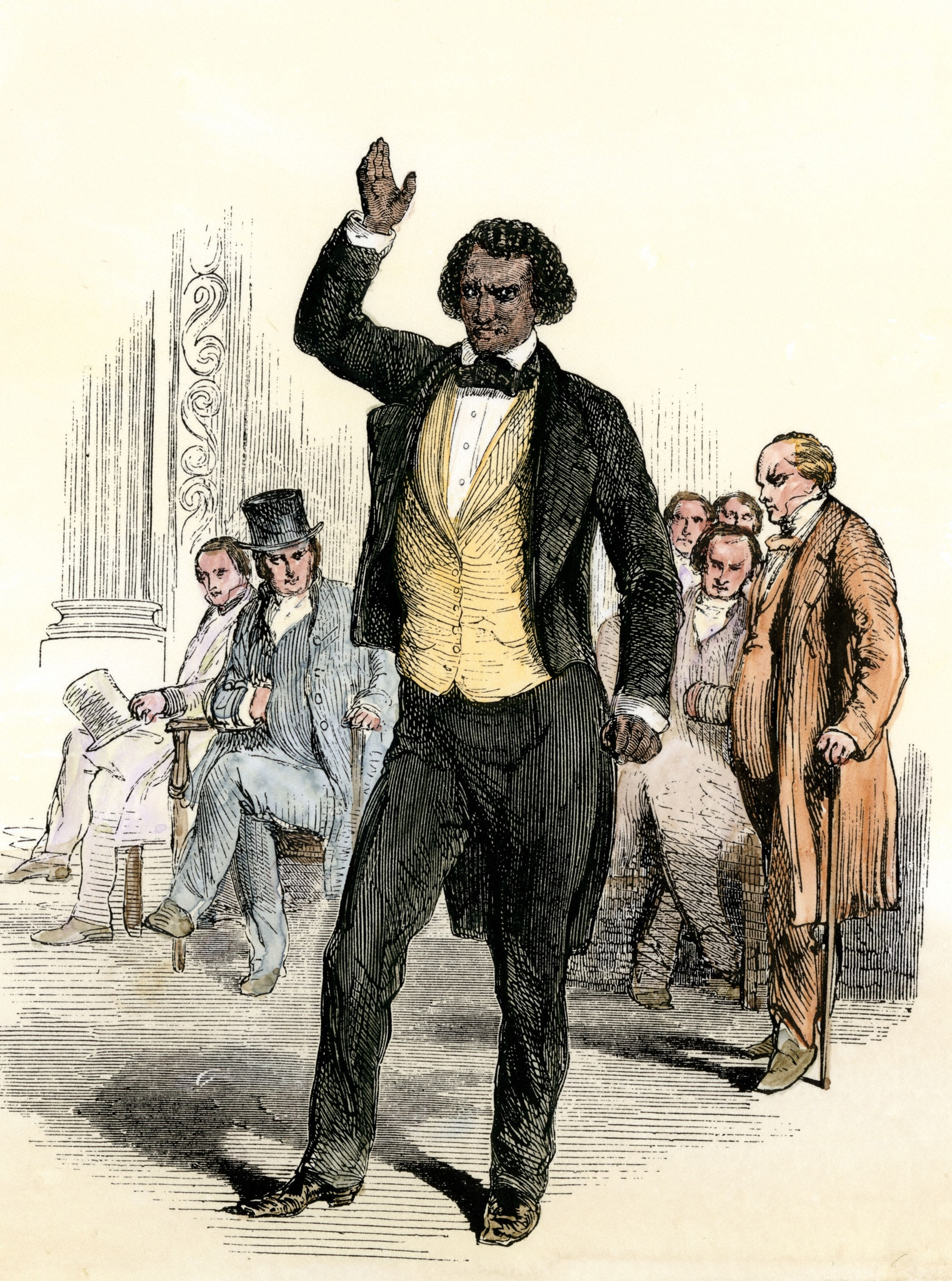 Woodcut illustration of Frederick Douglass speaking (© North Wind Picture Archives/Alamy)