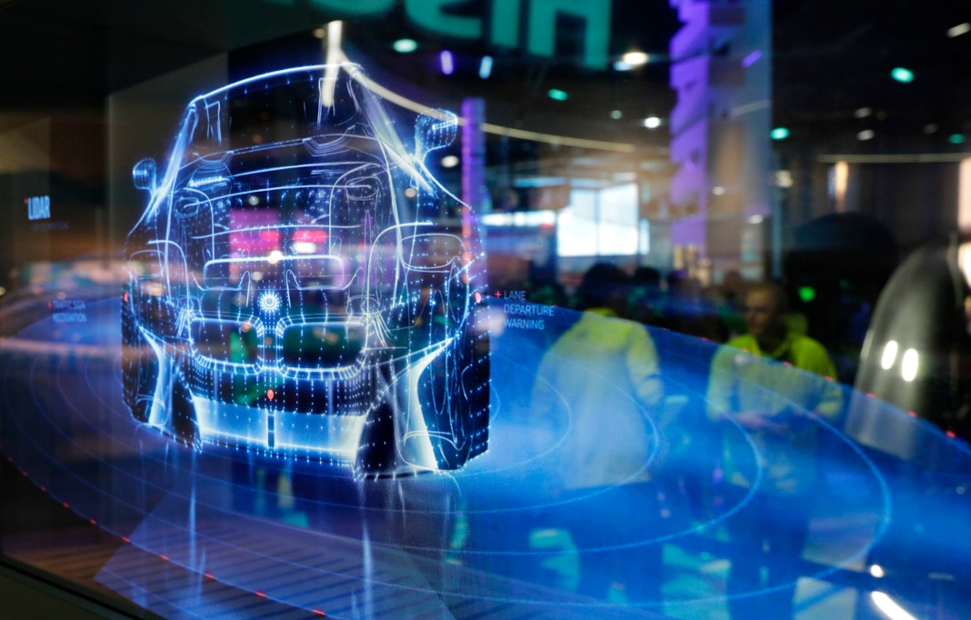 Computer-generated image of smart car (© John Locher/AP Images)