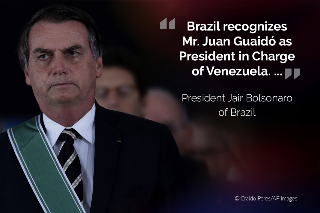 Jair Bolsonaro, with his tweet overlaid (© Eraldo Peres/AP Images)