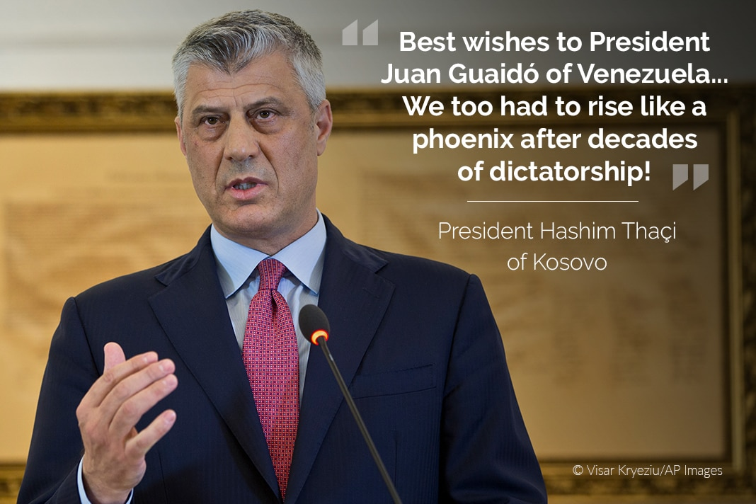 Hashim Thaçi, with his tweet overlaid (© Visar Kryeziu/AP Images)