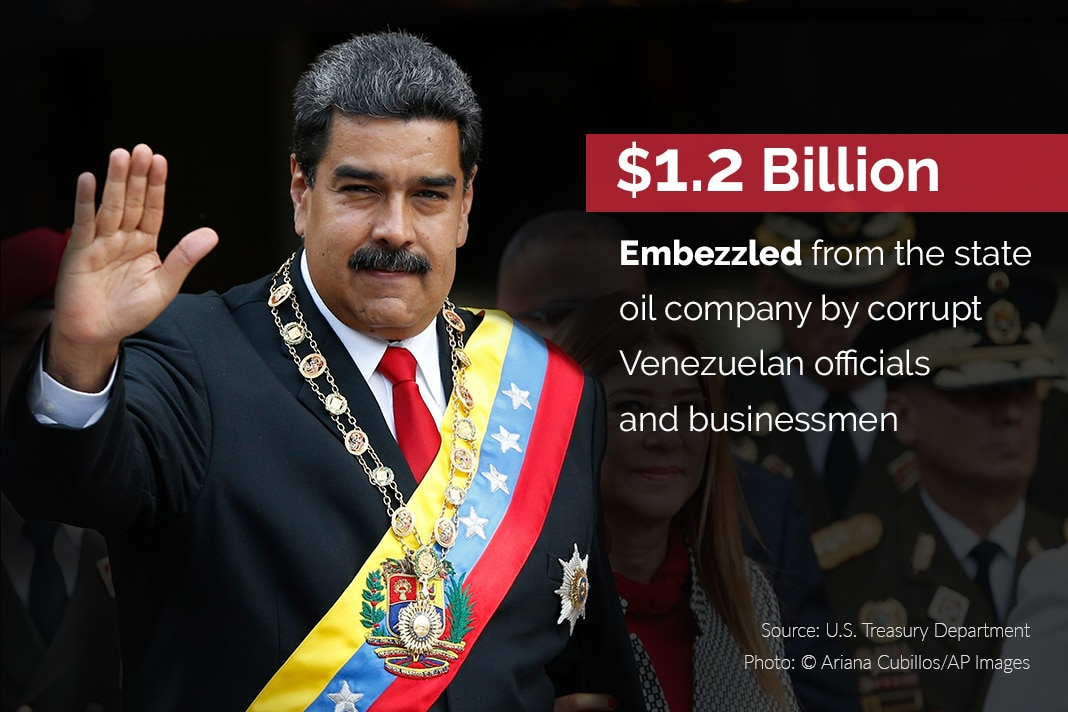 Nicolas Maduro waving, with fact on embezzlement overlaid (© Ariana Cubillos/AP Images)
