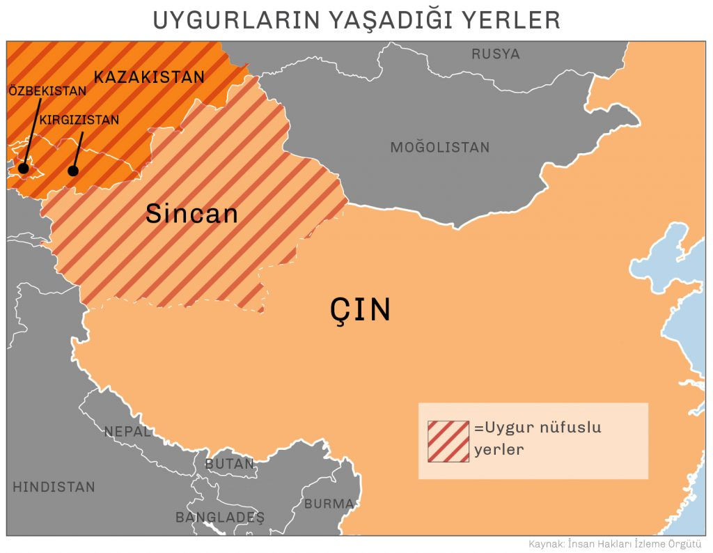 - Uygurların yaşadığı yerler - Rusya Moğolistan Kazakistan Kırgızistan Özbekistan Sincan Çin Nepal Butan Hindistan Bangladeş Burma - Uygur nüfuslu yerler - Kaynak: İnsan Hakları İzleme Örgütü